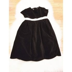 Girls black velour holiday dress